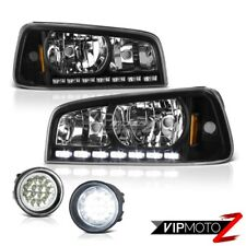 [FULL-LED] Fog Lights 2009-2010 Dodge Charger Black LED DRL Headlights Headlamps