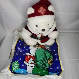 Dayton Hudson Santa Bear Collectable Christmas Plush Santabear with Bag 1998