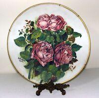 "Antique 15"" Hand Painted Platter - Rose Bush on White - Signed S. Simpkins 1903"