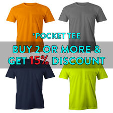 PROUSA MENS PLAIN POCKET T SHIRT HEAVYWEIGHT SHORT SLEEVE TEE CASUAL COMFORT TEE