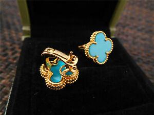 ✤✤Van Cleef & Arpels ✤✤18K Yellow Gold Vintage ✤Alhambra Turquoise ✤Earrings✤