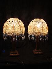 Lampes de chevet Art Déco en bois d'époque, abat jour d'époque