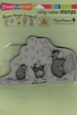 New Stampendous RUBBER STAMP cling House Mouse TOSSING CONFETTI  free USA ship