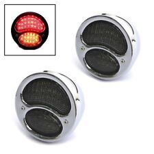 CHROME Vintage Integrated LED Stop Tail Lights & Indicators Classic Retro Cars