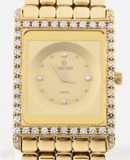 Concord Solid 18k Yellow Gold Delirium Quartz Watch w/ Diamond Dial & Bezel