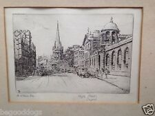 1920'S PENCIL SIGNED ETCHING ARTIST M. OLIVER RAE ' HIGH STREET' OXFORD ENGLAND