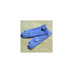 Georges Morand blue suede kid leather wrist length gloves 7.5