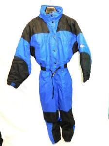 Vtg Swiss Alps M Blue Black Yellow Ski Snow Suit One Piece Coat Pants Womens md