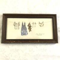 Gay Talbott 1986 Laundry Clothesline Teddy Bear Signed Framed Art Print Pencil