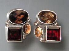 Sale - Amy Kahn Russell Topaz Garnet Clip/Post Earrings
