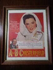 Vintage magazine ad ABC CHESTERFIELD CIGARETTES from 1949 Barbara Stanwyck