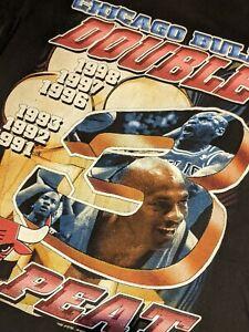98 RARE vintage Chicago Bulls 3Peat RAP TEE SHIRT jordan rodman LAST DANCE Large