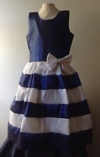 Blue White Girl Dress Size 10 Taffeta Holiday Birthday Pageant Handmade Headband
