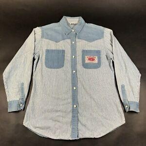 Vintage Gitano Jeans Denim Button Down Shirt Womens M Light Blue White Striped