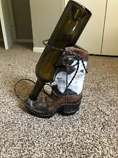 Decorative Countertop Wine Bottle Holder Cowboy Boot W/ Braided Metal Barb Wire