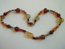 """Vintage necklace,multi color stone beads,pearls,16""""long,citrine sterling clasp,"""