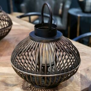 Rustic bamboo style WICKER LANTERN candle holder Hurricane contemporary display