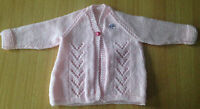 BRAND NEW HAND-KNITTED PINK BABY JACKET/CARDIGAN TO FIT 0-3 MONTHS