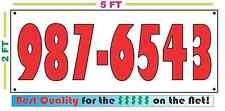 Custom 7 Digit PHONE NUMBER Banner Sign NEW Larger Size Best Price for The $$$$