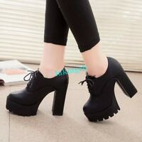punk women high heels platform lace up pumps chunky block shoes ankle boots size