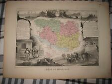 Fine Antique 1861 Department Du Morbihan Vannes France Levasseur Handcolored Map