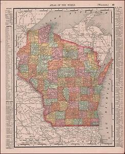 WISCONSIN, ANTIQUE MAP ORIGINAL 1897*