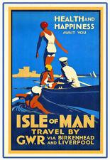 ISLE OF MAN Via Manxman /& Midland Railway...Vintage Railway Poster A1A2A3A4Sizes