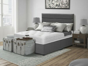 NAPELS DIVAN BED WITH FLOORSTANDING HEADBOARD AND 13.5 MEMORY SPRING MATTRESS