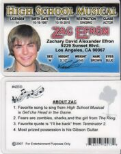 fun High School Musical Zac Efron id card Drivers License Baywatch star