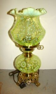 Fenton L.G. Wright Daisy & Fern Topaz Vaseline Opalescent Glass Lamp