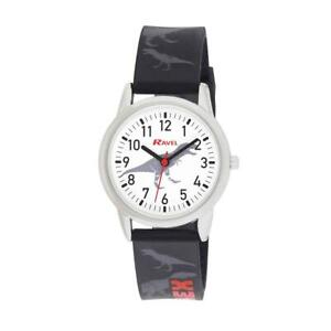 Ravel Kids White Dial Easy to Read Numbers Dinosaur Rubber Strap Watch R1809.3