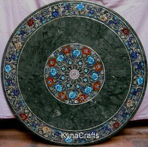 """36"""" Marble Patio Table Shiny Gemstone Inlaid Work Dining Table from Cottage Art"""
