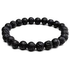 Mens Semi Precious Bracelet Real Gem Stone Natural Lava Rocks Braclet Wristband
