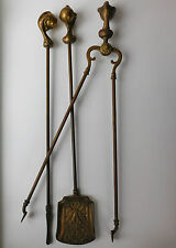 Brass Fireside Companion set ball and claw long Poker Shovel Tongs vintage tools