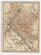 1919 ORIGINAL ANTIQUE CITY MAP OF REIMS / CHAMPAGNE-ARDENNE / FRANCE