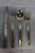 RX Emblem Oneidacraft Deluxe Stainless-Lot of 4 Piece Place Setting-Knife-Forks+