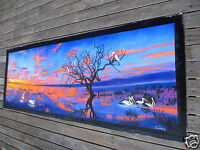 Pelican birds Sunset Australia Landscape Oil Painting original Outback  by Jane