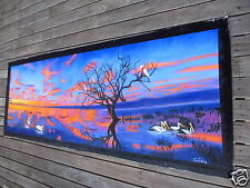 Pelican birds Sunset Australia Landscape Oil Painting original Outback  by Jane