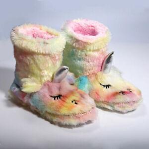 Girls Novelty Rainbow Unicorn Slippers Fleece Plush Fur Indoor Bootie Footwear