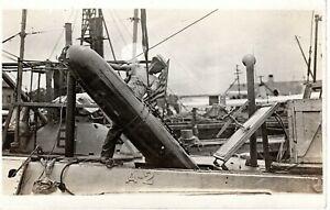 ~1910's RPPC - British HMS A-2 Class Submarine - Sailor Loading a Torpedo - WWI