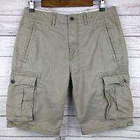Levis 6-Pocket Cargo Shorts Men's 30 Khaki Cotton Metal Buttons Zipper Fly