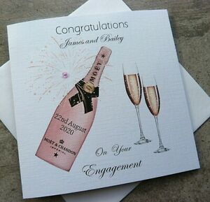Handmade Personalised Congratulations Engagement Card Pink Champagne