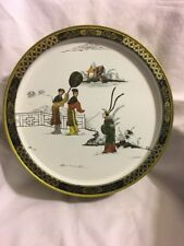 Antique Vintage Chinese Hand Drum made of Metal Steel Painted with Figures