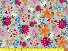 Red Orange & White Flower Fun Flowers Quilting Fabric by Yard  #129