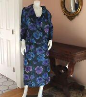 Vintage Purple and Blue Taffeta Sleeveless Dress with Matching Jacket