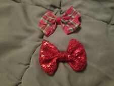 2 Christmas Bows Hair Clips Red Plaid & Sequins