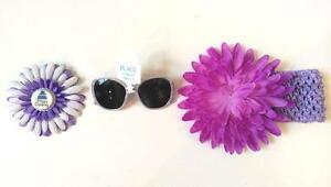 Girl's Purple Jumbo Mum w/Attached Headbands-Birthday Flower HairClip-Sunglasses