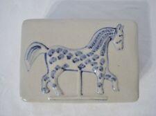 Pottery Horse Trinket Box Museum of American Folk Art Blue Paint 5x4 Carousel?