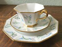 Vintage Bavaria Tirschenreuth Luncheon Set Gold Blue Art Deco Cup Saucer Plate