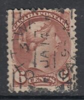"Canada Scott #43  6 cent red brown ""Small Queen""   F"
